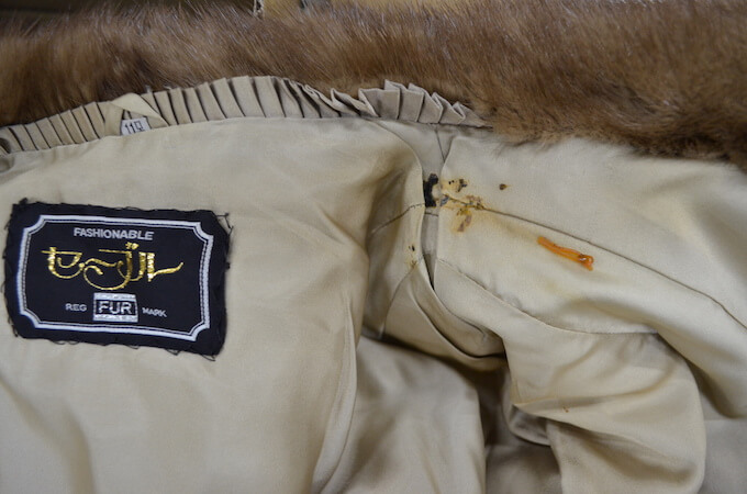 シミ汚れのついた毛皮コート