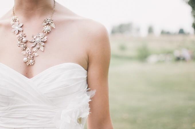 宝石ネックレスをしている女性